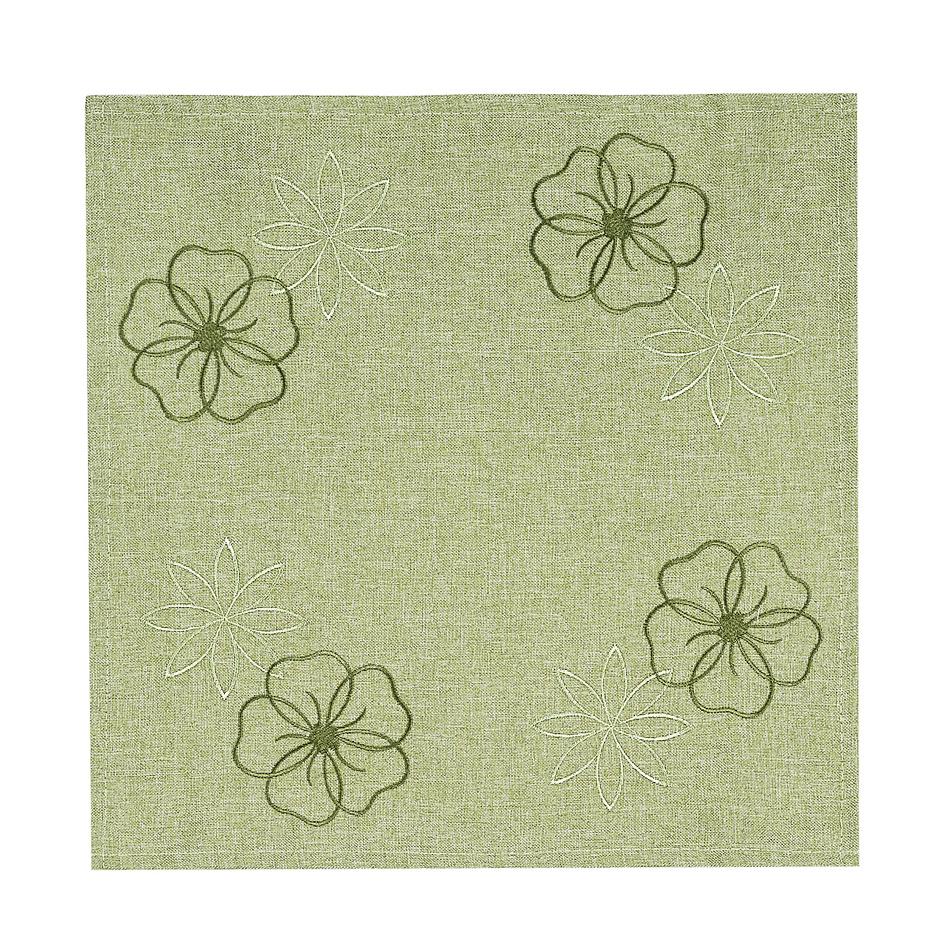 Forbyt Vyšívaný obrus Kvety na zelenej, 35 x 35 cm, 35 x 35 cm