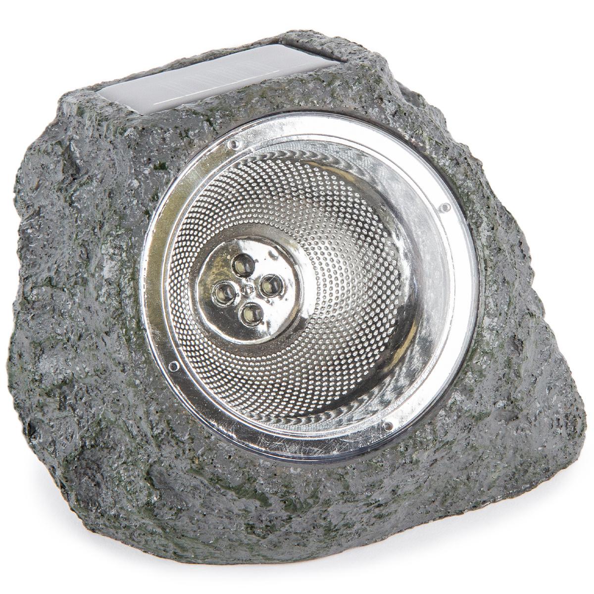 Vonkajšie solárne svietidlo Stone light sivo-zelená, 4 LED