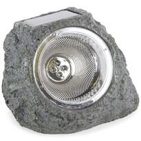 Koopman Vonkajšie solárne svietidlo Stone light sivo-zelená, 4 LED