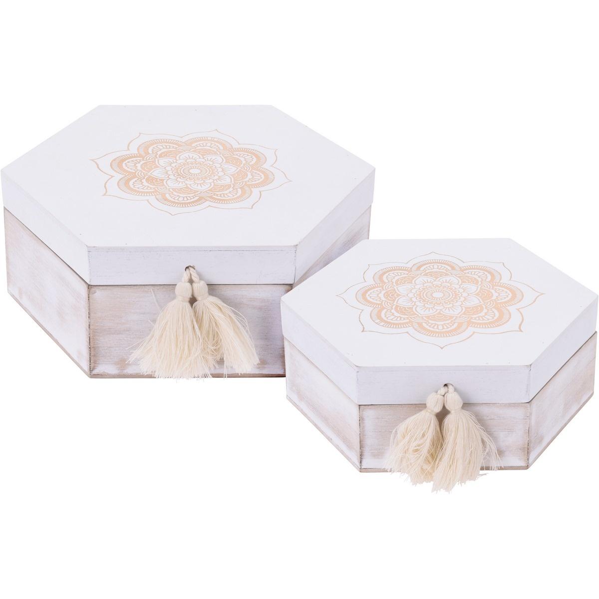 Sada dekoračných boxov Ornamento hexagon, 2 ks