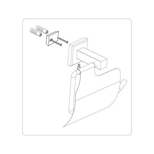 Fala Quad Chrom WC-papír tartó borítással, 14 x 10 x 7 cm