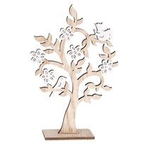 Dřevěná dekorace Kvetoucí strom s ptáčky, 13 x 20 cm