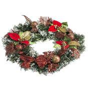Vánoční věnec s poinsetií pr. 30 cm, červená