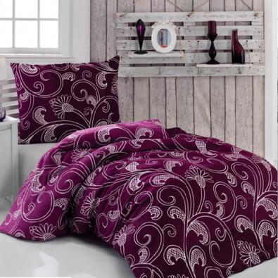 Bavlněné povlečení Romance fialová, 220 x 200 cm, 2 ks 70 x 90 cm