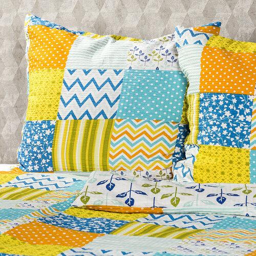 Lenjerie de pat din crep 4Home Patchwork blue, 140 x 200 cm, 70 x 90 cm