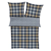 s.Oliver Flanelové obliečky 6713/620 modrá/žltá, 140 x 200 cm, 70 x 90 cm