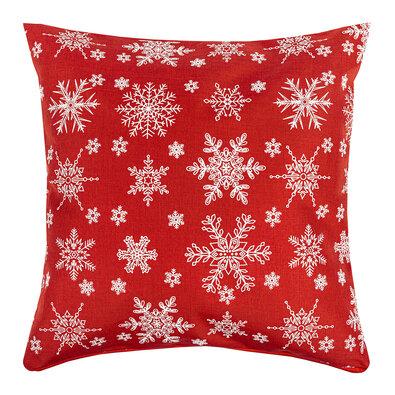 Hópehely karácsonyi huzat, piros, 40 x 40 cm
