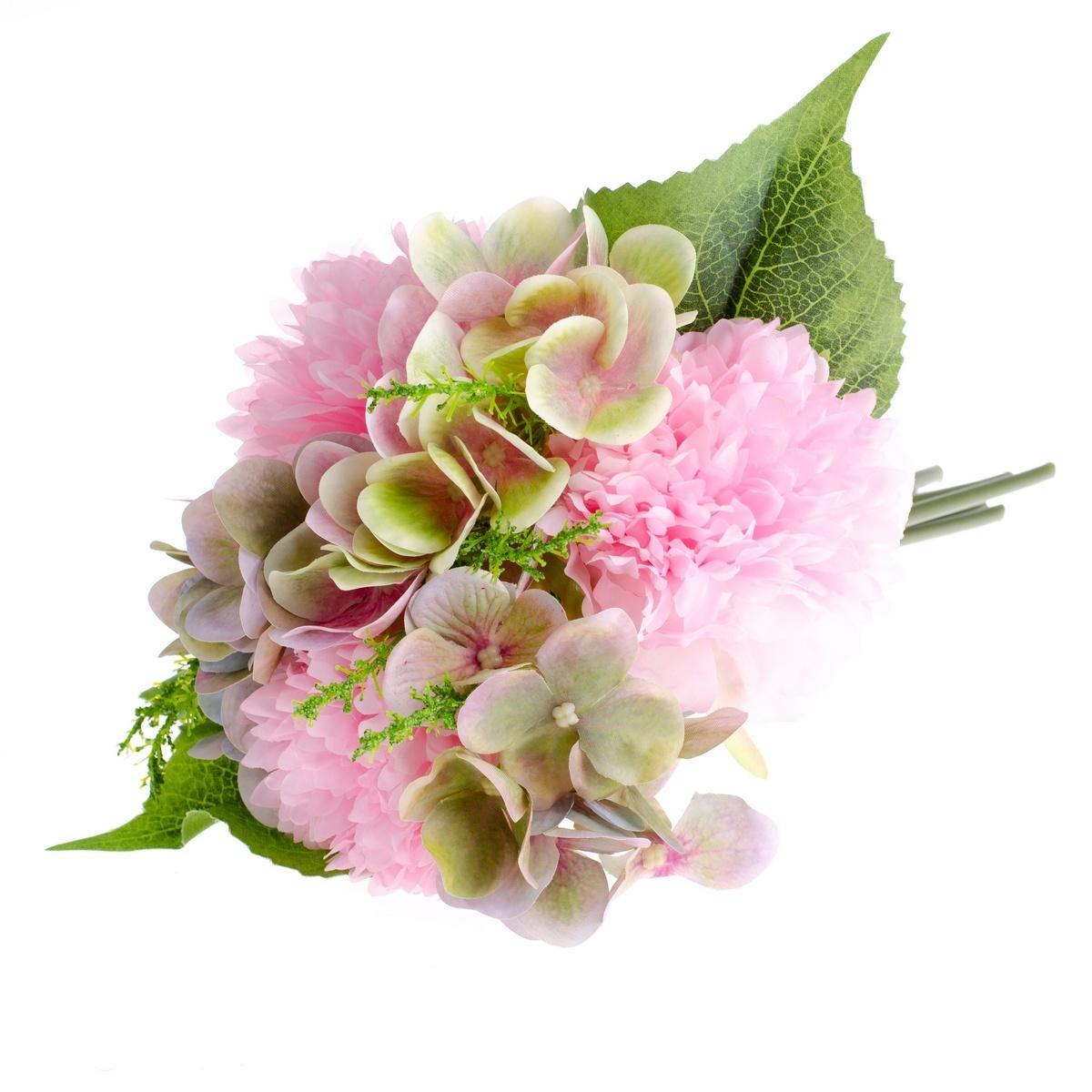 Umělá kytice Pivoňka s hortenzií tmavě růžová, 30 cm