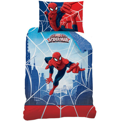 CTI Dziecięca pościel bawełniana Spiderman Web, 140 x 200 cm, 70 x 90 cm