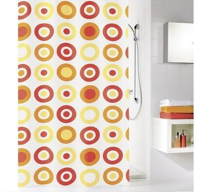 Kleine Wolke sprchový závěs Kruhy oranžová , 180 x 200 cm