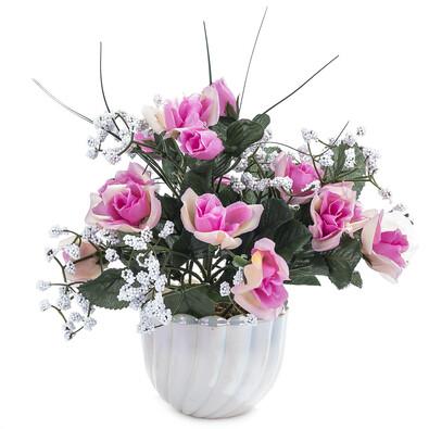 Umělá květina růže s přízdobou v květináči