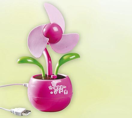 Stolní USB větrák kytka, růžová