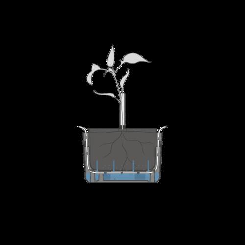 Plastia Berberis önöntöző felakasztható virágtartó, kékesszürke + fehér, átmérő: 26 cm