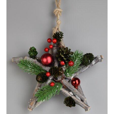 Green pine karácsonyi felakasztható csillag, 20 cm