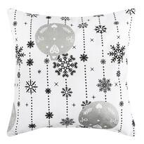 Vánoční povlak na polštářek Vánoční ozdoby stříbrná, 40 x 40 cm