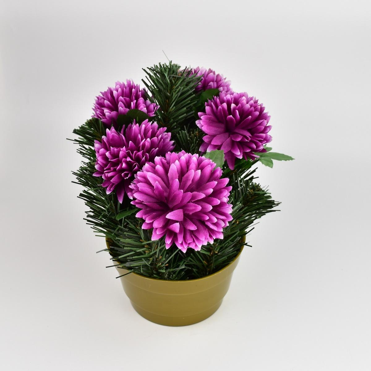 Dušičková dekorace s chryzantémami 23 cm, fialová