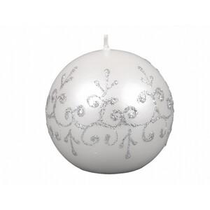 Vánoční svíčka Tiffany koule, bílá