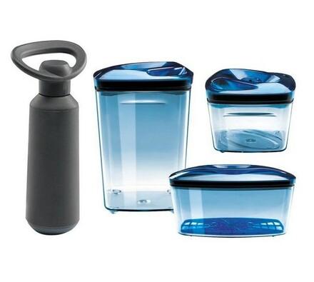 Dóza vakuová s pumpou, 3 ks, modrá