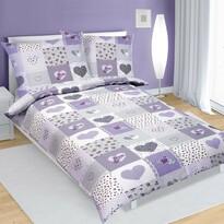 Lenjerie de pat din crep Inimă, violet, 140 x 200 cm, 70 x 90 cm