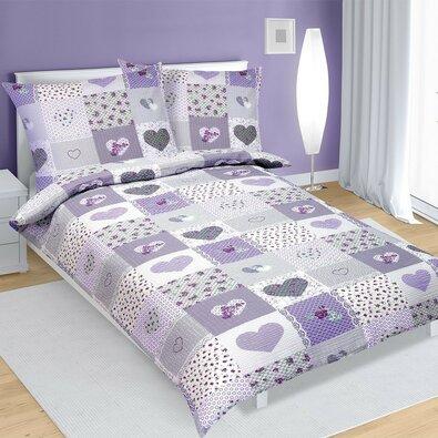Krepové obliečky Srdce fialová, 140 x 200 cm, 70 x 90 cm