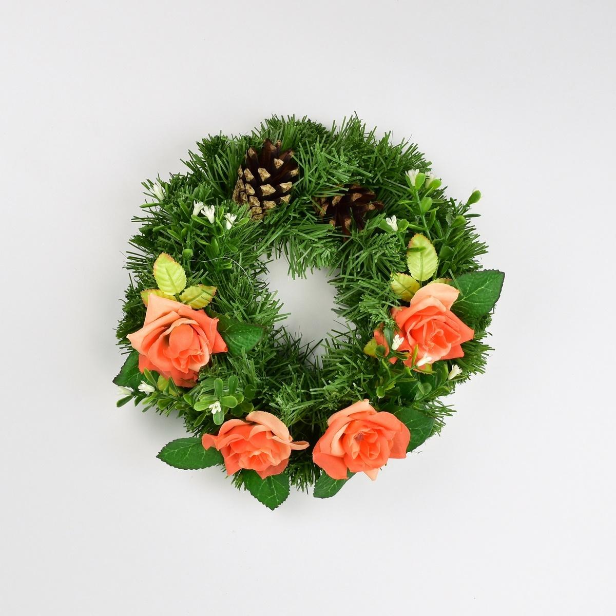 Dušičkový věnec s růžemi 25 cm, oranžová