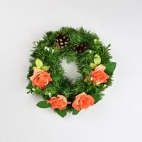 Dušičkový veniec s ružami 25 cm, oranžová