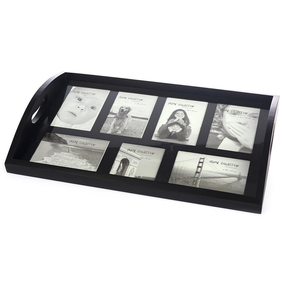 Dřevěný podnos Picture, 49 x 33 x 7 cm, černá