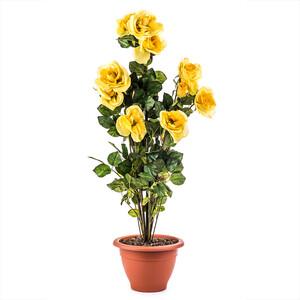 Umělá květina keř žlutých růží v květináči