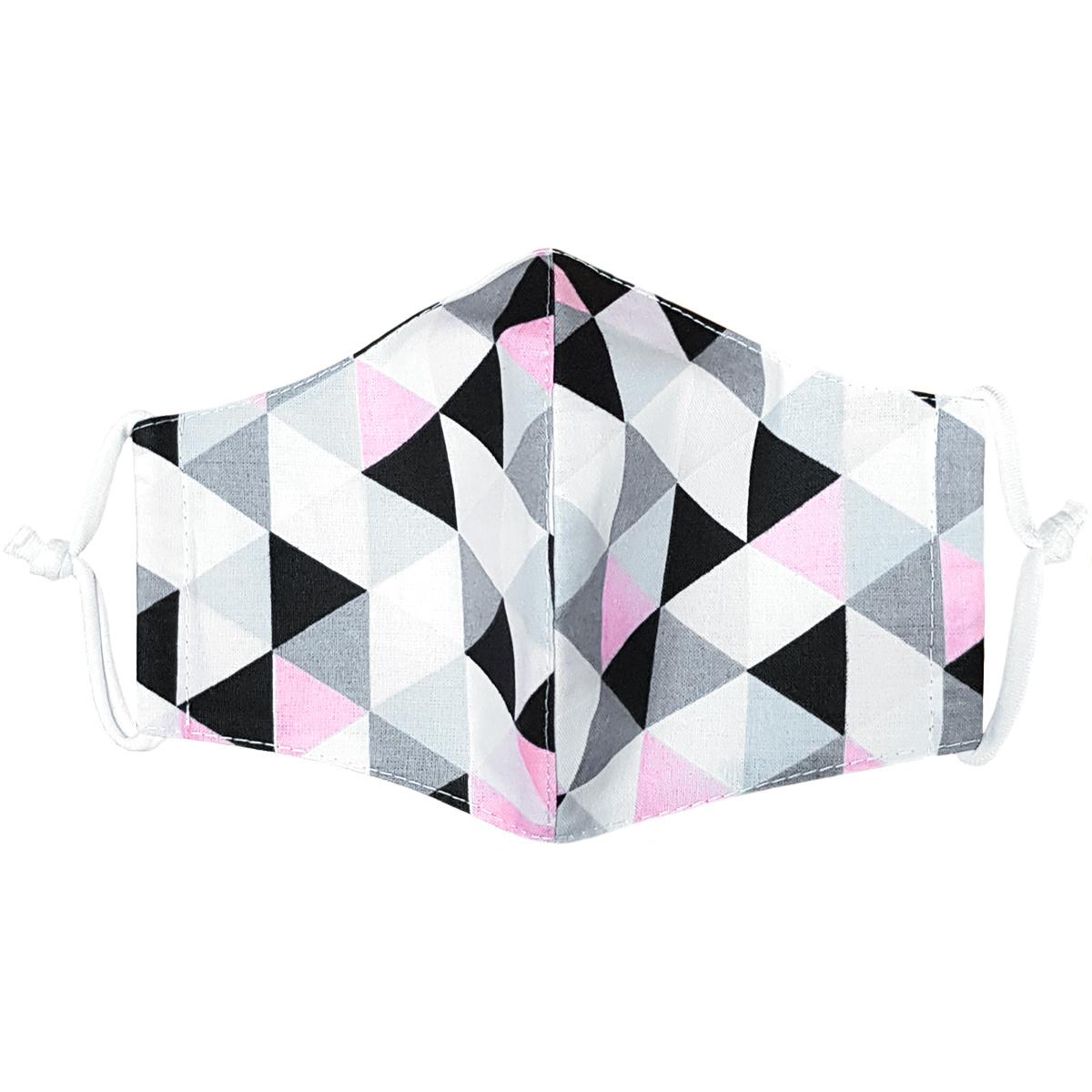 Ústne bavlnené rúško Triangle ružovo-sivá - deti 3 - 6 rokov, XS (3 - 6 rokov)