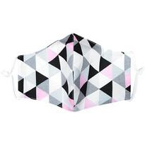 Ústne bavlnené rúško Triangle ružovo-sivá - deti