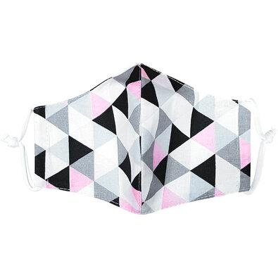 Ústne bavlnené rúško Triangle ružovo-sivá - deti 3 - 6 rokov
