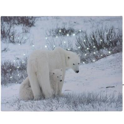 Tablou LED Bears in winter, 40 x 30 cm