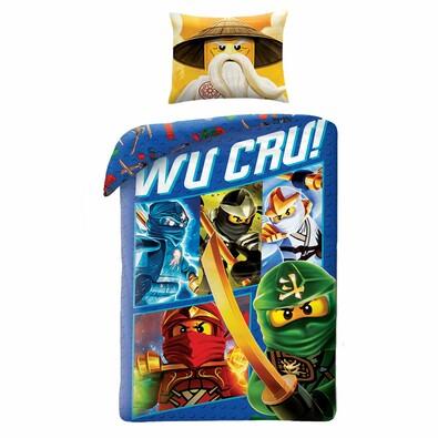 Lenjerie de pat din bumbac, pentru copii, Lego Wu Cru!, 140 x 200 cm, 70 x 90 cm