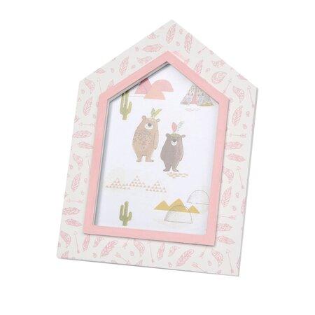 Ramă foto Altom Ursuleț, din lemn, 25 cm, roz