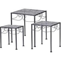 Komplet kwadratowych stolików metalowych Loreta