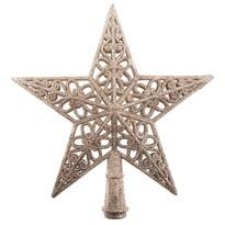 Vianočná hviezda na stromček Shiny zlatá, 20 x 20  x 3 cm