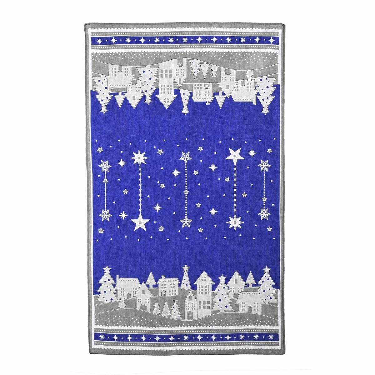 Forbyt Vánoční utěrka Zimní vesnička modrá, 45 x 70 cm