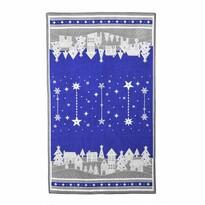Téli kisfalu karácsonyi törlőruha, kék, 45 x 70 cm