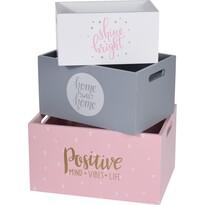Pastel style dekor tárolódoboz készlet, 3 db-os, rózsaszín