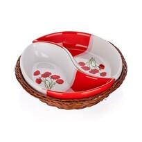BANQUET 2-dielna servírovacia miska v košíku Red Poppy