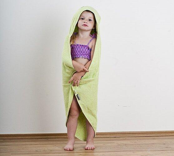 Froté detská osuška s kapucňou zelená, 75 x 75 cm