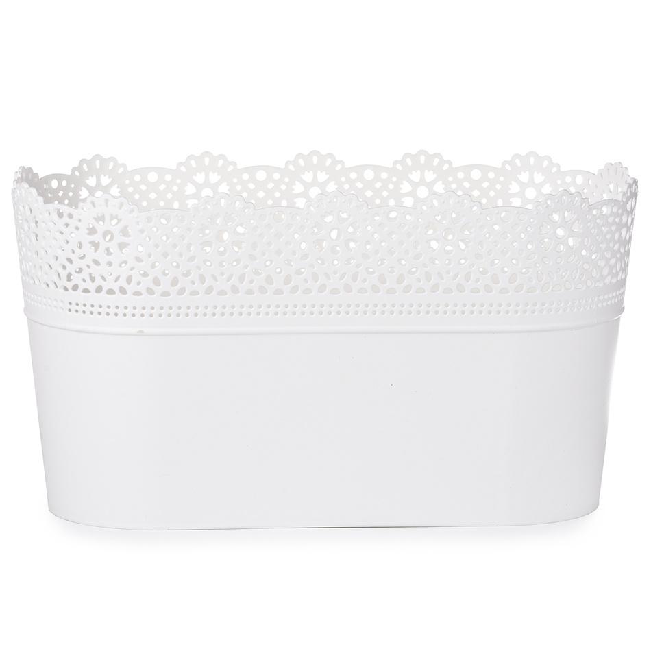 Prosperplast Plastový květináč Lace, bílá