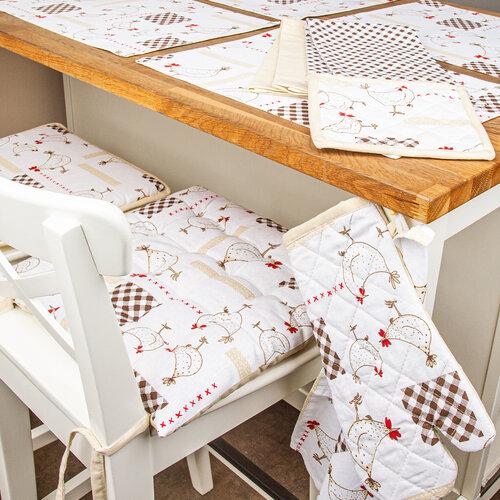 Pernă scaun brodată Găini, alb, 40 x 40 cm