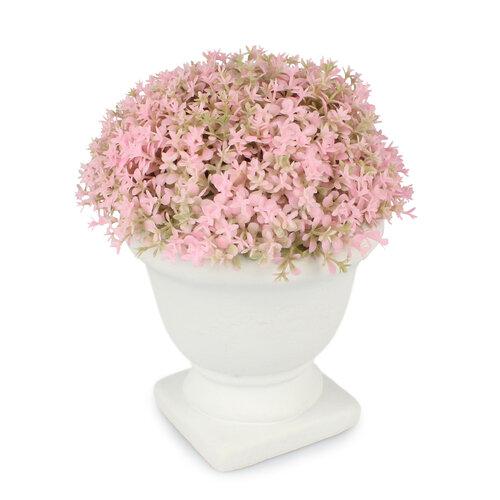 Umělá květina v betonovém květináči, růžová