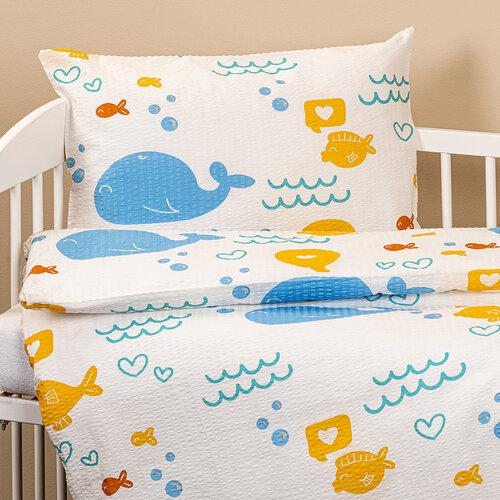 4Home Detské krepové obliečky do postieľky Veľryby, 100 x 135 cm, 40 x 60 cm