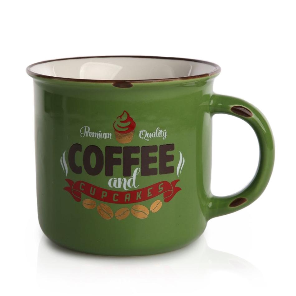 Porcelánový hrnek Cofee 330 ml, zelená