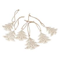 Sada vianočných kovových ozdôb Stromčeky, 6 ks