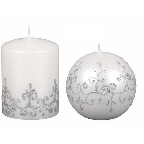 Vianočná sviečka Tiffany gulľa, biela