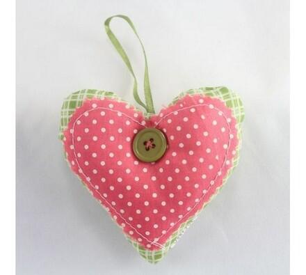 Textilní srdce, růžové