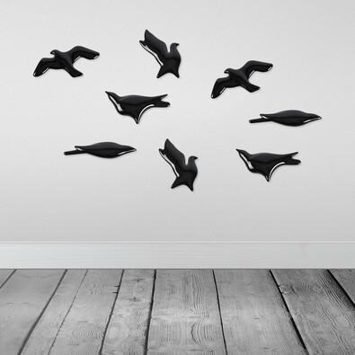 3D tapeta BIRDS černá, sada 4 ks